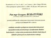 mgr Grzegorz Buratyński - geolog. Uprawnienia geologiczne, geologia inżynierska