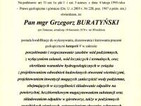 mgr Grzegorz Buratyński - geolog. Uprawnienia hydrogeologiczne